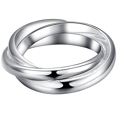 Eternity Rolling Ring (BOHG Jewelry Womens 925 Sterling Silver Plated Triple Interlocked Rolling Eternity Ring Love Wedding Band Size 8)