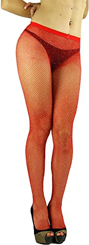 ToBeInStyle Women's Spandex Seamless Glittery Fishnet Pantyhose Tights Hosiery - Red With Silver Glitter - One Size: -