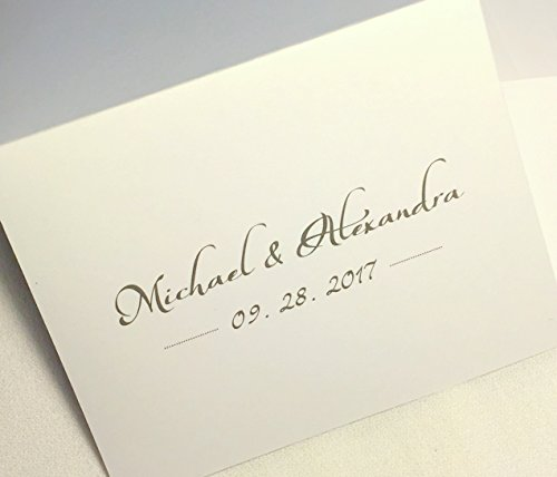 50 Personalized Wedding Thank You Note Cards Stationery with Matching Envelopes. Folding Cards Custom Printed with Bride and Groom's Names Plus Wedding Date If Desired. Many Font Color ()