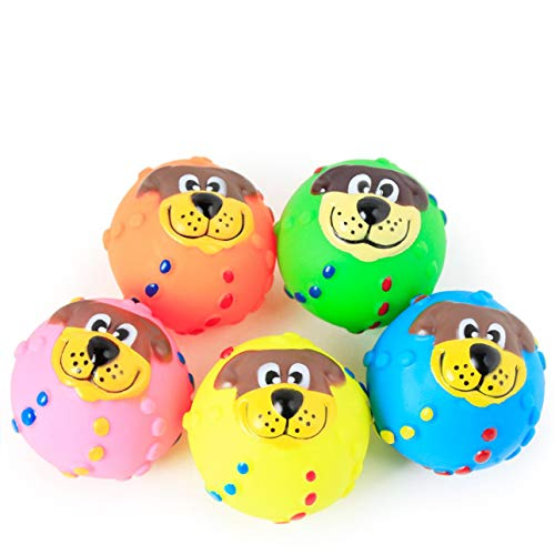 Liobaba Pet Puppy Dog Squeaky Fetch Ball Toys Bite Resistant Squeeze Chew Toy for Aggressive Chewers Cute Colorful Ball Design