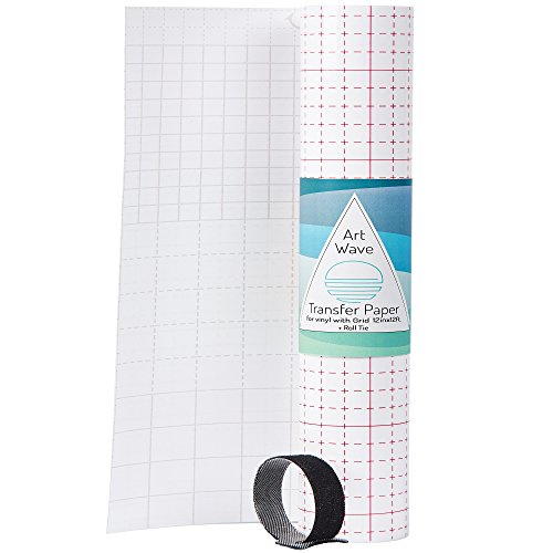 Vinyl Transfer Tape + Extra Velcro Tie 12x12 - Clear Vinyl Transfer Paper Roll for Vinyl Sheets w Grid - Transparent Application Tape for Oracal Cricut or Silhouette Cameo Adhesive Transfer Vinyl