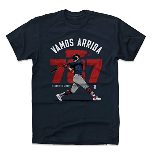 - 500 LEVEL Francisco Lindor Cotton Shirt Large True Navy - Cleveland Baseball Men's Apparel - Francisco Lindor Puerto Rico Homer R WHT