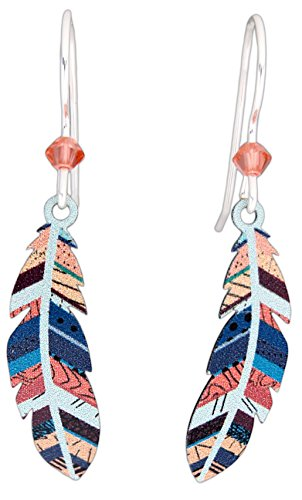 French Wire Earrings - Sienna Sky Hypo-Allergenic Patterned Feather Sterling Silver Plated French Hook Wire Earrings