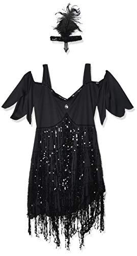 Lava Girl Costume Halloween (Sunnywood Women's Lava Diva Plus Size Flapper, Black,)