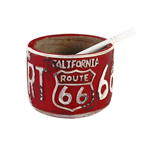 PROSHADE Ashtray, Vintage Route 66 Tabletop Cigarette Ashtray, Ash Holder for Smokers, Desktop Smoking Ash Tray for Home Office, Red