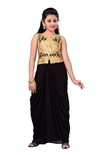 Aarika Girl's Self Design Net Fabric Party Wear Dress (DR-3504-BLACK_30_8-9 Years) by Aarika