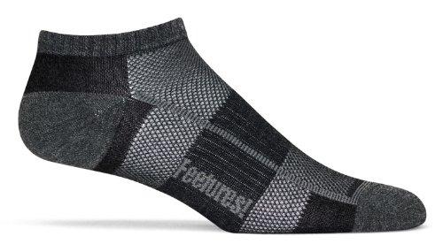 Feetures Men's Pure Comfort Ultra Light Cushion Low Cut Socks, Slate/Charcoal, Medium (Men's 6-8.5 / Women's 7-9.5)