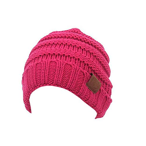 Aigemi Toddler Baby Boys Grils Cable Ribbed Knit Beanie Cap Kids Winter Hat (Rose Red)