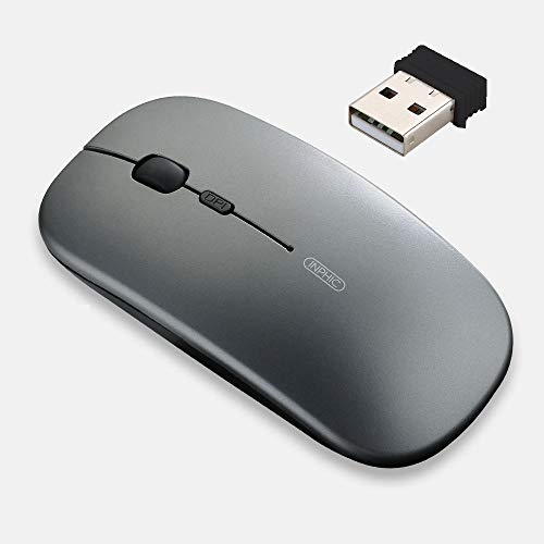 inphic Wireless Mouse, Slim Silent Click Rechargeable 2.4G Wireless Mice 1600DPI Mini Optical Portable Travel Cordless Mouse with USB Receiver for PC Laptop Computer Mac MacBook, Iron Gray
