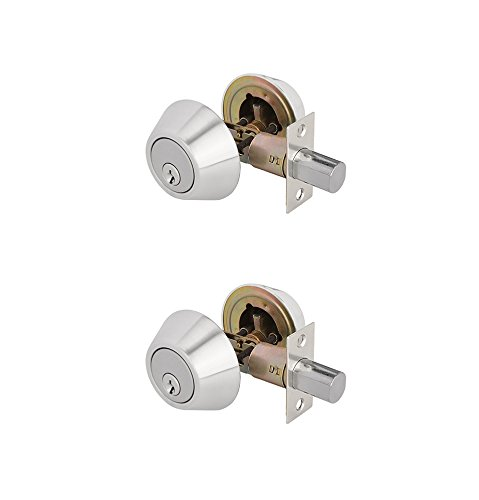 TOGU ANSI Grade 3 Heavy Duty Double Cylinder Deadbolt with Adjustable Backset,KW1 Keyways,Front Door Lock for Home Entry Doors,Satin Nickel,2 Pack