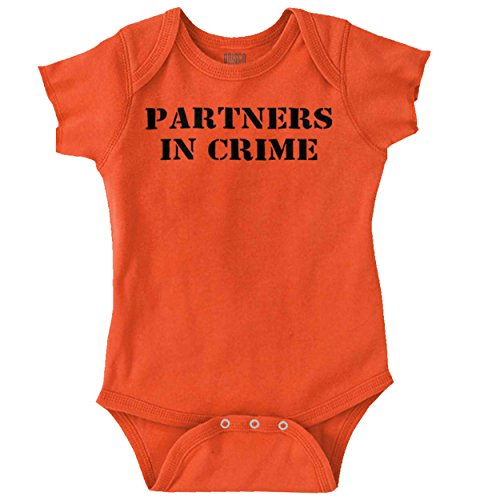 Partners in Crime Funny Prisoner Baby Gift Romper Bodysuit Orange