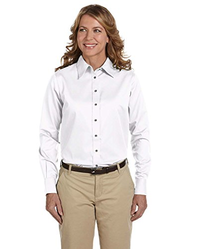 - Product of Brand Harriton Ladies Easy Blend Long-Sleeve Twill Shirt with Stain-Release - White - M