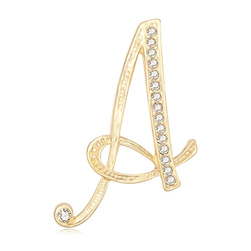 SenFai 26 Letter English Alphabet Real Gold Plated Brooch an Pin Womens Jewelry