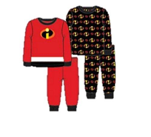 Pixar Boys' Toddler Incredibles Uniform 4-Piece Cotton Pajama Set, red, -