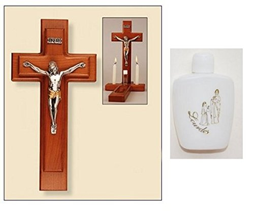 Sick Call Set - Wood Crucifix and Bottle of Lourdes Holy Water by DIRECT FROM LOURDES