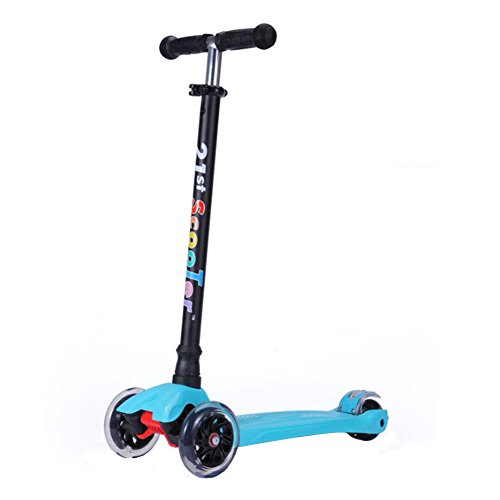 Scooters for Kids,Kingo 3 Led Light Up Wheels Scooter for Toddlers with Adjustable Height for Children Over 3 Years Old (Blue)