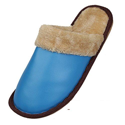 Thuis Koppels Antislip Waterdicht Warme Pantoffels Katoenen Leren Slippers (medium, Donkerrood) Hemelsblauw