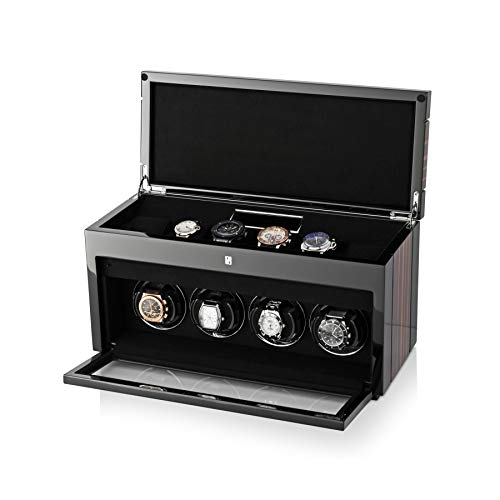 Watch Slot Winder (4+6 Watch Winder for 4 Women's and Men's Watches with 6 Storage Slots, LED Backlight and LCD Display (Macassar))