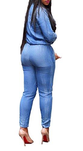 Mujer Monos Manga Larga Vaquero Bonita Otoño HaiDean Jumpsuit 2Xl Solapa Bolsillos Skinny Moda con Mono S Azul Azul Joven Modernas Largos De Elegantes Casual Casual Primavera E6OqwO0