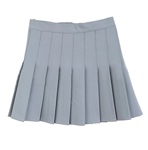 Apparel Skirt School Plaid (Women School Uniforms plaid Pleated Mini Skirt Silver Gray a 10)