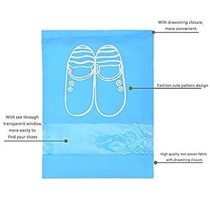 YAMIU 10 Pcs Shoe Bags Dust-proof Drawstring with Window Travel Shoe Storage Bags