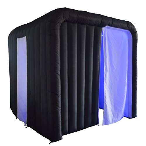 Inflatable Portable Photo Booth Enclosure with 17 Colors LED Changing Lights and Inner Air Blower for Weddings Parties Promotions Advertising(Black Outside) by Sayok
