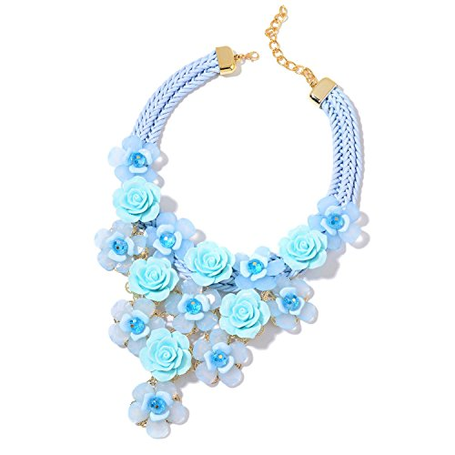 Shop LC Delivering Joy Blue Chunky Chain Choker Bib Flower Statement Pendant Necklace for Women Chroma Glass Goldtone Jewelry Gift 18-20