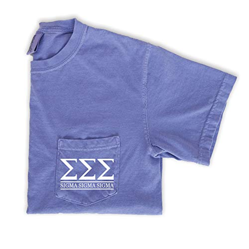 Sigma Sigma Sigma Block Letters Pocket T-Shirt (Large) Purple (Shirts Letter Sigma Tri)