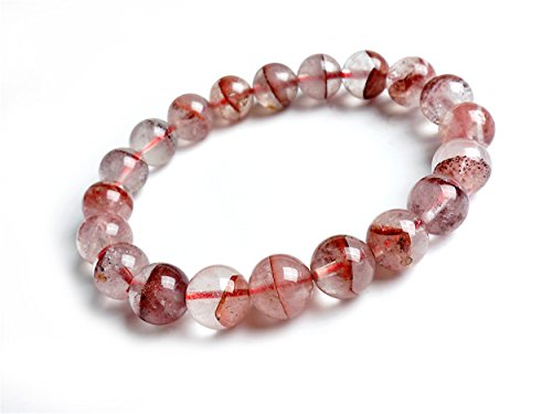 LiZiFang Natural Red Phantom Quartz Crystal Gemstone Round Bead Stretch Bracelet 10mm