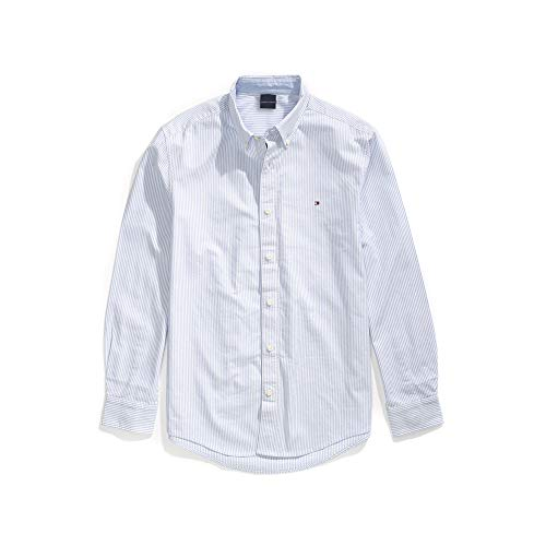 Tommy Hilfiger Men's Adaptive Magnetic Long Sleeve Button Down Shirt Custom Fit, Light Blue, Small