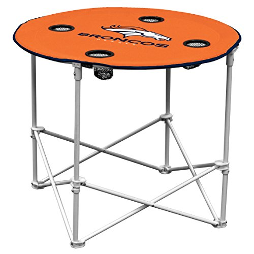 Logo Outdoor Chair (Denver Broncos  Collapsible Round Table with 4 Cup Holders and Carry Bag)