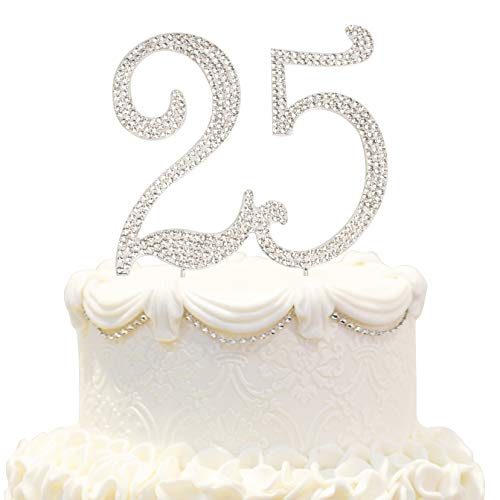 - Hatcher lee Bling Crystal Sweet 25 Birthday Cake Topper - Best Keepsake | 25th Party Decorations Silver