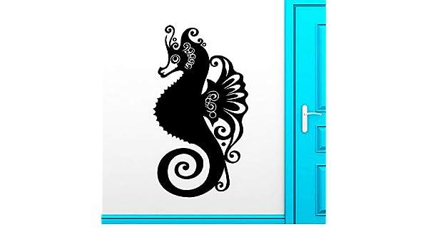 Ajcwhml hipocampo Adhesivos de Pared Marino Marino Animal baño Vinilo Apliques decoración Impermeable Lindo Papel Tapiz de Pared 42x81 cm: Amazon.es: Hogar