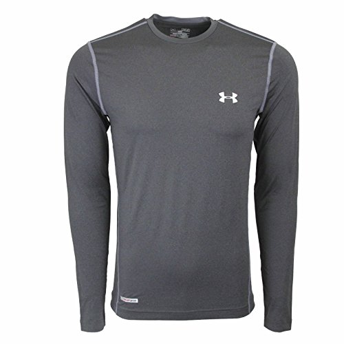 (Under Armour Mens Heat Gear Fitted Pullover Top Gray 2XL)