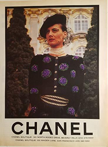 CHANEL Boutique Womens Black Purple Dress Gold Chains 1988 Ad