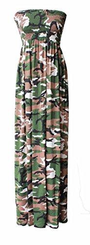 Little Princess Ladies Floral Strapless Maxi Fancy Dress Sheering Boob Tube Bandeau Plus Size(M/L UK Army (Plus Size Army Fancy Dress)