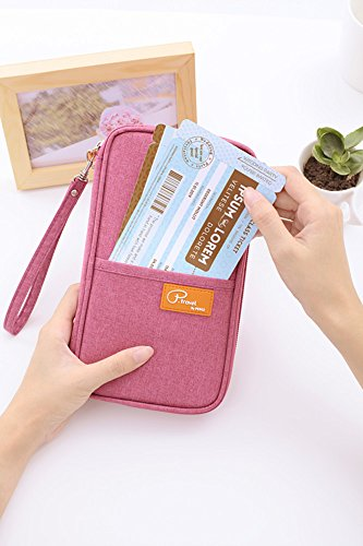 FLYMEI Multifunctional Travel wallet with Hand Strap - Passport Wallet Passport holder Travel Organizer Wallet for Card Money Ticket Mobile - Gray