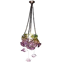 Rose Passion Green & Pink Hanging Lamp