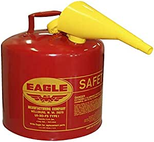 """UI-50-FS Red Galvanized Steel Type I Gasoline Safety Can with Funnel, 5 Gallon Capacity, 13.5"""" Height, 12.5"""" Diameter"""