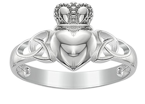 US Jewels And Gems New Ladies 0.925 Sterling Silver Irish Celtic Claddagh & Trinity Knot Ring ()