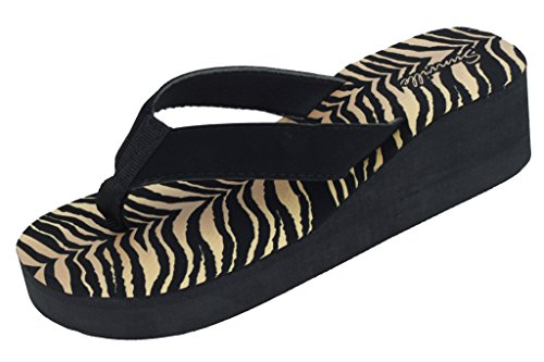 New Women's Tiger Animal Print Wedge Sandals Size 8 ()