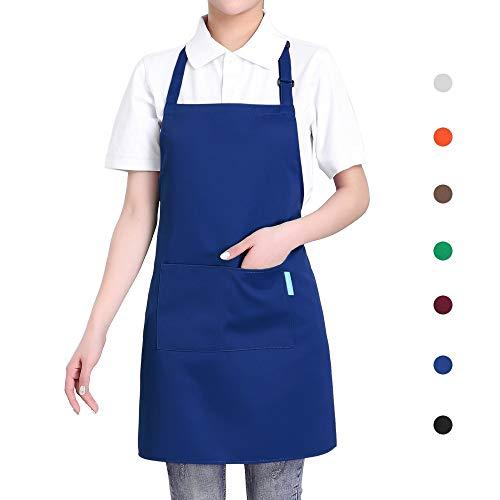 esonmus Adjustable Bib Adult Apron with 2 Pockets - Waitresses Apron, Heavy Duty Kitchen Apron, Money Apron - Cooking Kitchen Aprons for Women Men (One Size, Blue)