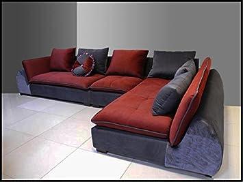 Divano Rosso E Grigio : Divano salotto angolare in tessuto rosso e grigio amazon