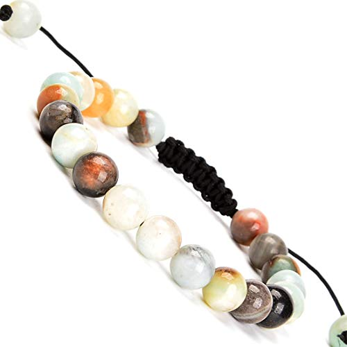 Massive Beads Natural Multi-Color Amazonite Gemstone Bracelet Braided Macrame Stones Healing Crystal Quartz Great Gifts ()