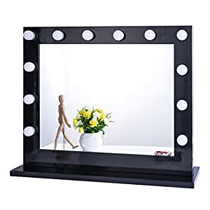 Chende Black Hollywood Lighted Makeup Vanity