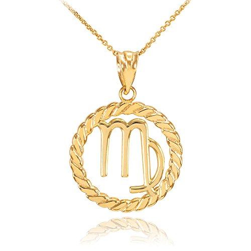 Collier Femme Pendentif 10 Ct Or Jaune Vierge Zodiaque Signe À Cercle Corde (Livré avec une 45cm Chaîne)