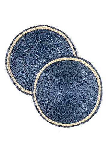 Rattan Vintage (Rattan Placemats - Vintage Indigo Dark Blue Round Place Mats)
