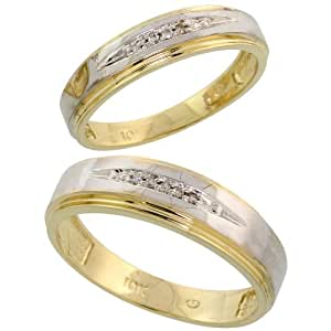Amazon 10k Yellow Gold Diamond Wedding Rings Set For Him 6 Mm And Her 5 Mm 2 Piece 005