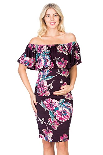 My Bump Women's Floral Ruffle Off Shoulder Maternity Dress(Made in USA) (Medium, Plum Flower ()