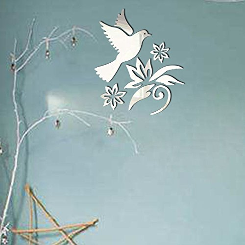 (FAERIE Modern Mirror Style Removable Decal Art Mural Wall Sticker Home Room DIY (Silver))